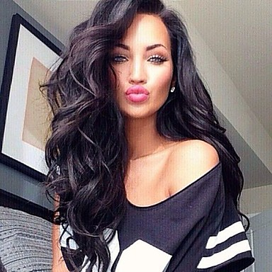 cheap Human Hair Wigs-10a brazilian virgin human hair natural black color long body wave lace front with with baby hair