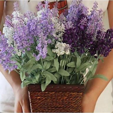 Künstliche Blumen 1 Ast Pastoralen Stil Lavendel Tisch-Blumen