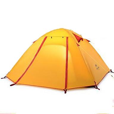 3-4人 テント ダブル キャンプテント 1つのルーム テント 通気性 携帯用 超軽量(UL) 防風 折り畳み式 のために 狩猟 ハイキング キャンピング 旅行 >3000mm シリコーン キャンバス アルミニウム cm