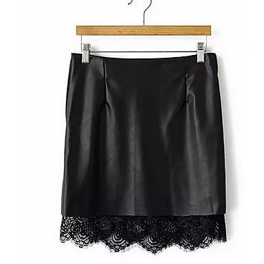 Damen Röcke,Bodycon einfarbig Spitze,Lässig/Alltäglich Einfach Mittlere Hüfthöhe Über dem Knie Reisverschluss PU Micro-elastisch Sommer