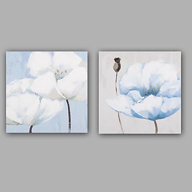手描きの 抽象画 花柄/植物の 油彩画,クラシック 欧風 2枚 キャンバス ハング塗装油絵 For ホームデコレーション