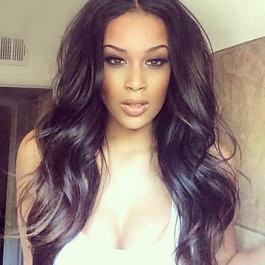 Naisten Aitohiusperuukit verkolla Aidot hiukset Lace Front 130% Tiheys Laineikas Peruukki Musta Lyhyt Keskikokoinen Pitkä Luonnollinen