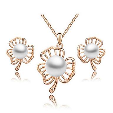 女性 ジュエリーセット クリスタル 真珠 真珠 1×ネックレス 1×イヤリング(ペア) 用途 日常 ウェディングギフト