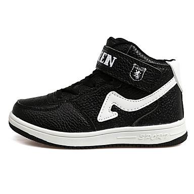 Jungen Schuhe PU Frühling Herbst Slouch Stiefel Komfort Sportschuhe Klettverschluss Schnürsenkel für Normal Draussen Schwarz/weiss