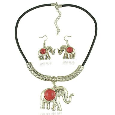 Mulheres Conjunto de jóias 1 Colar 1 Par de Brincos - Euramerican Fashion Elefante Preto Vermelho Colar / Brincos Para Casamento