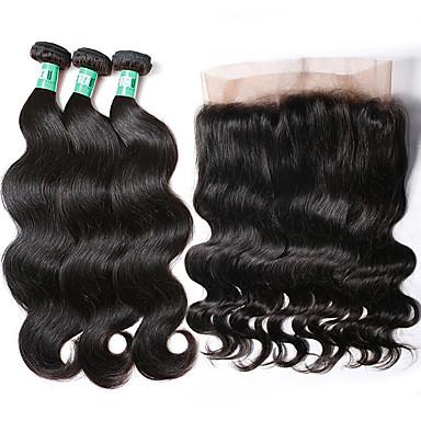 baratos Extensões de Cabelo Natural-3 pacotes com fechamento Cabelo Brasileiro Onda de Corpo Cabelo Virgem Trama do cabelo com Encerramento 8-22 polegada Tramas de cabelo humano Extensões de cabelo humano