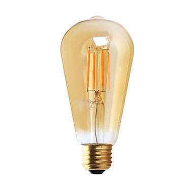 E26 Lâmpadas de Filamento de LED ST21 4 leds COB Regulável Branco Quente ≥300lm 2200K AC 110-130V