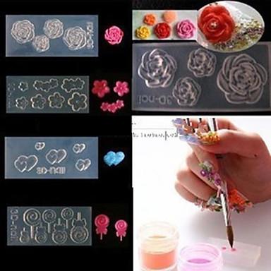 4 Наклейка для переноса воды 3D-акриловые формы для ногтей Цветы Мультяшная тематика Мода Милый Высокое качество Повседневные