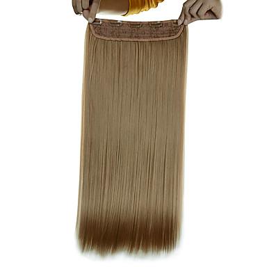 5 leikkeet pitkä suora kultainen blondi (# 16) synteettinen hiukset leikkeen hiusten pidennykset naisille