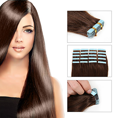 Com Adesivo Extensões de cabelo humano Liso Extensões de Cabelo Natural Cabelo Humano Cabelo Brasileiro 8a Mulheres