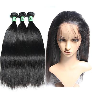 Brasiliansk hår Rett Hårvever med menneskehår 4stk Myk Hår Veft Med Lukker Daglig
