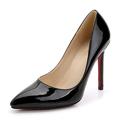 Damen Schuhe Lackleder Frühling Herbst T-Riemen High Heels Stöckelabsatz Spitze Zehe für Hochzeit Kleid Party & Festivität Pfirsich Rot
