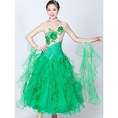 Ballroom Dance الفساتين للمرأة أداء سباندكس / تول ربط / كريستال / أحجار الراين كم طويل فستان / Neckwear