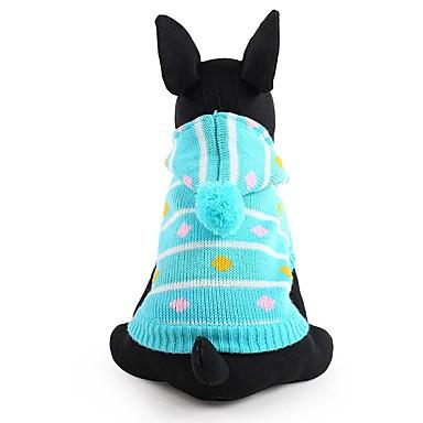Hund Gensere Hundeklær Stribe Blå Rosa Akryl Fiber Kostume For kjæledyr Herre Dame Søtt Hold Varm Mote