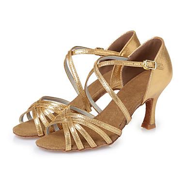 للمرأة أحذية رقص جلد كعب عقدة شريطة كعب ستيلتو غير مخصص أحذية الرقص ذهبي / أحمر / داخلي