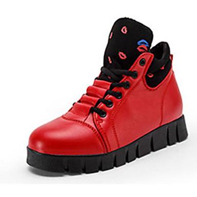 Bootsit-Tasapohja-Miesten-PU-Musta Punainen Valkoinen-Rento-Comfort