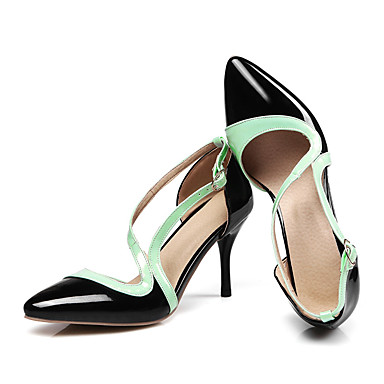 Damen Schuhe Lackleder Frühling Sommer Herbst High Heels Stöckelabsatz Spitze Zehe Schnalle für Normal Party & Festivität Schwarz Rose