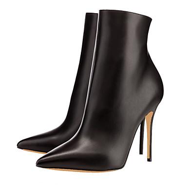 Žene Zima Modne čizme Umjetna koža Ležeran Zabava i večer Formalne prilike Stiletto potpetica Patent-zatvarač Crna Bijela