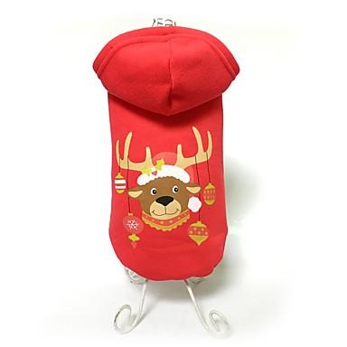 Hund Frakker Hettegensere Hundeklær Dyr Rød Bomull Kostume For kjæledyr Herre Dame Søtt Hold Varm Mote Jul