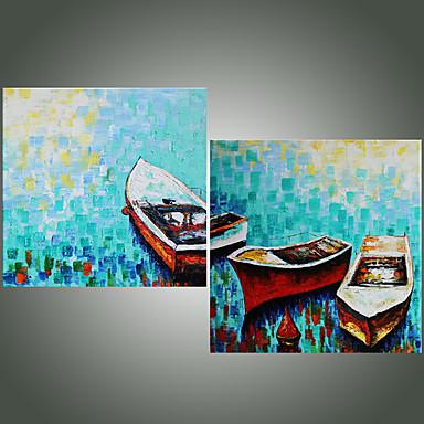 手描きの 風景 方形, 近代の 地中海風 キャンバス ハング塗装油絵 ホームデコレーション 2枚
