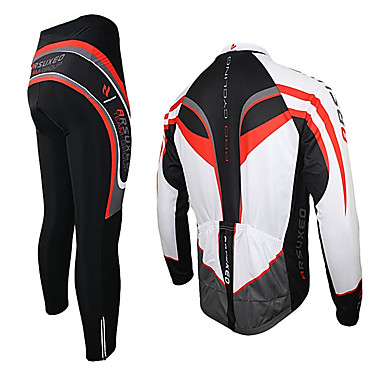 Arsuxeo Men's Long Sleeves Cycling Jersey with Tights - Black/Red Bike Clothing Suits, Thermal / Warm, Quick Dry, Breathable, 3D Pad