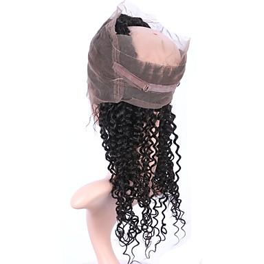 360 Frontal Kinky Curly Remi-Haar Schließung Mittelbraun Schweizer Spitze Gramm Cap Größe