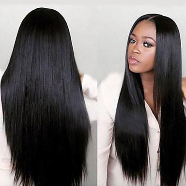 voordelige Korting Pruiken & Hair Extensions-Onbehandeld haar Volledig Kant Pruik Minaj stijl Braziliaans haar Recht Yaki Pruik 130% 150% Haardichtheid met babyhaar Afro-Amerikaanse pruik Voor donkere huidskleur Pre-geplukt Gebleekte knopen