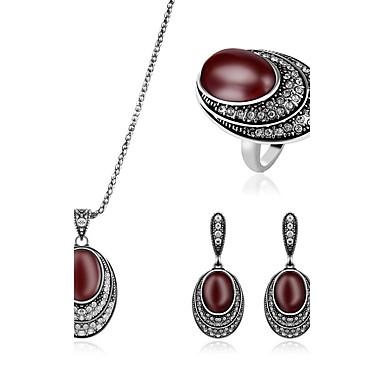 Mujer Rubí sintético Apilable Conjunto de joyas - Diamante Sintético Lujo Incluir Anillos Set Rojo oscuro Para Boda Fiesta Diario