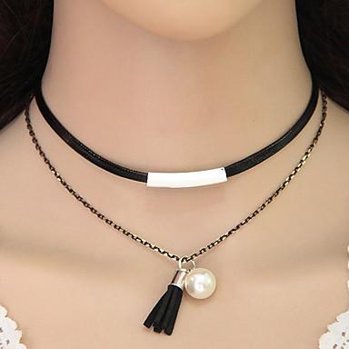 Damen Halsketten Tattoo-Hals Perle Künstliche Perle Leder Aleación Tattoo Stil Quaste Modisch Doppelschicht Europäisch Schmuck Für Party1