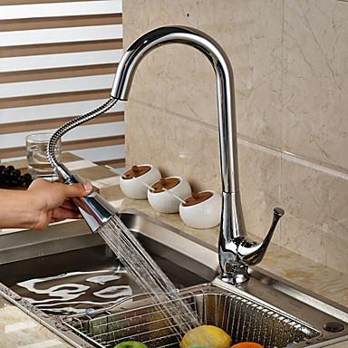コンテンポラリー プルアウト/プルダウン 洗面ボウル 組み合わせ式 回転可 セラミックバルブ シングルハンドルつの穴 クロム , 水栓