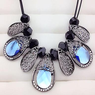 Mujer Cristal / Zafiro Sintético Gargantillas - Flor Europeo, Moda Gris, LED Azul Gargantillas Para Fiesta, Diario, Casual
