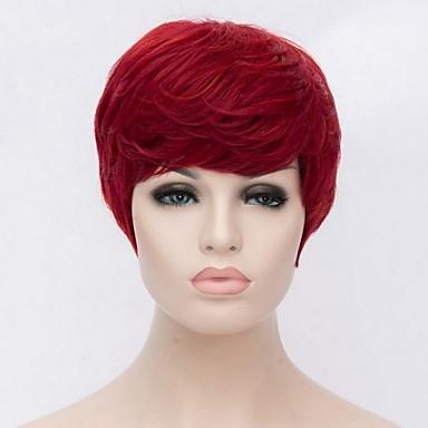 Syntetiske parykker Rett Syntetisk hår Rød Parykk Dame Kort Lokkløs Rød