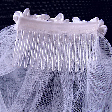 Two-tier Lace Applique Edge Wedding Veil Elbow Veils 53 Embroidery 31.5 in (80cm) Tulle