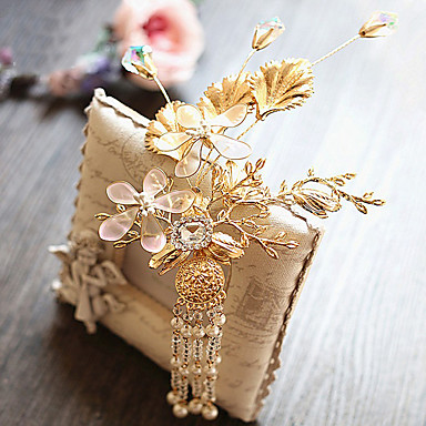 成人用 合金 人造真珠 ファブリック かぶと-結婚式 パーティー カジュアル ヘアクリップ 1個