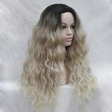Syntetisk blonder foran parykker Bølget Blond Lagvis frisyre Syntetisk hår Mørke røtter / Naturlig hårlinje Blond / Nyanse Parykk Dame Lang Blonde Forside Blond