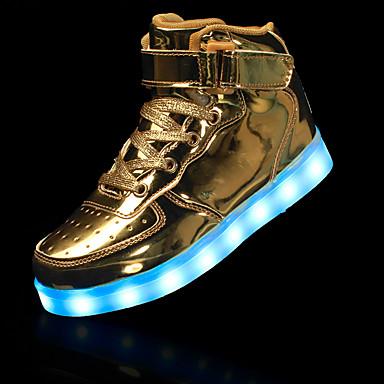 baratos Sapatos de Criança-Para Meninos Sintéticos Botas Little Kids (4-7 anos) Conforto / Curta / Ankle / Tênis com LED Cadarço Preto / Prata / Vermelho Inverno