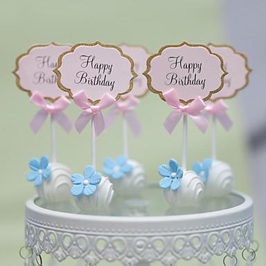 billige Kakedekorasjoner-Kakepynt rustikk Theme Hjerter Kort Papir Bryllup jubileum Bursdag Utdrikningslag 15- og 16-års bursdag Baby Fest med 1 OPP