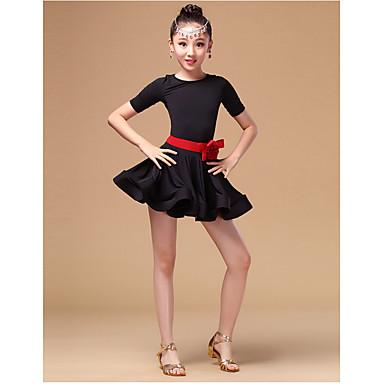 Latein-Tanz Kleider Kinder Aufführung Elasthan Milchfieber Rüschen 3 Stück Lange Ärmel Hoch Kleid Taillengürtel Unterhose