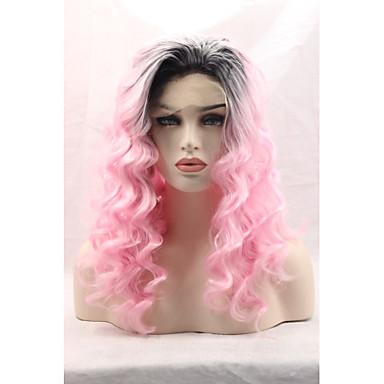 Synteettiset pitsireunan peruukit Runsaat laineet Luonnollinen hiusviiva Naisten Lace Front Luonnollinen peruukki Synteettiset hiukset