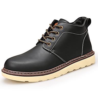 Miesten kengät PU Talvi Syksy Comfort Bootsit varten Kausaliteetti Musta Tumman ruskea Khaki