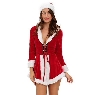 Santa Suit Cosplay Costume Party Costume Women's Christmas Halloween Festival / Holiday Halloween Costumes Red Solid