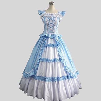 Viktorianisch Rokoko Kostüm Damen Kleid Maskerade Party Kostüme Vintage Cosplay Baumwolle Ärmellos Knöchel-Länge