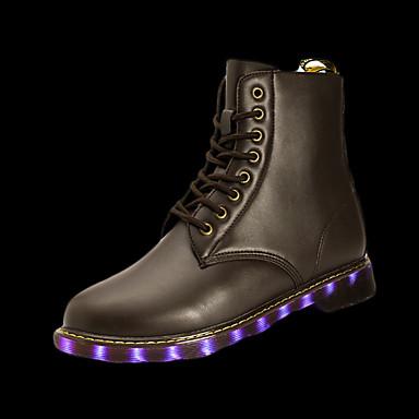 メンズ 靴 PUレザー 冬 秋 コンフォートシューズ ブーツ 編み上げ LED 用途 カジュアル ブラック シルバー