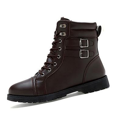 Herrn Schuhe PU Herbst Winter Komfort Stiefel Schnürsenkel für Normal Schwarz Dunkel Braun