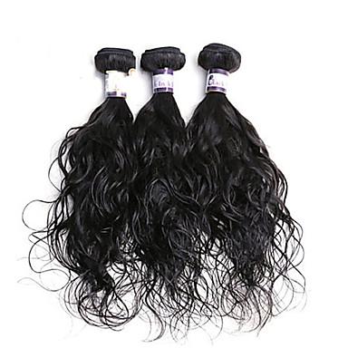 Υφάνσεις ανθρώπινα μαλλιών Ινδική Φυσικό Κυματιστό 3 Κομμάτια υφαίνει τα μαλλιά