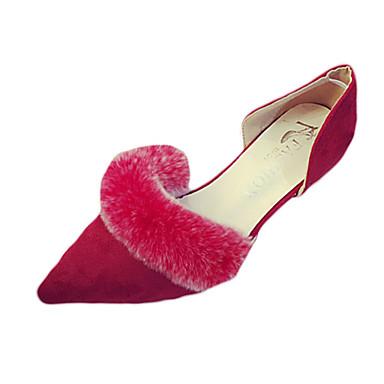 Damen-High Heels-Lässig-PU-Niedriger Absatz-Komfort-Schwarz Dunkel Braun Rot
