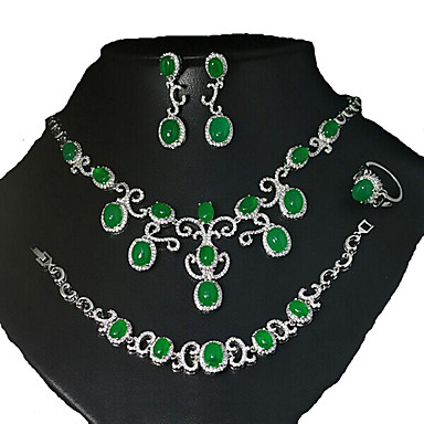 Damen Schmuckset Brautkleidung Modisch Europäisch Luxus-Schmuck Zirkon Kubikzirkonia Kupfer 1 Halskette 1 Paar Ohrringe 1 Armreif Ringe