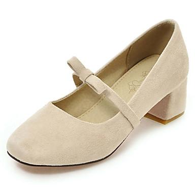Damen Schuhe Vlies Frühling Sommer Herbst High Heels Blockabsatz Quadratischer Zeh Schleife für Normal Kleid Schwarz Beige Blau Rosa
