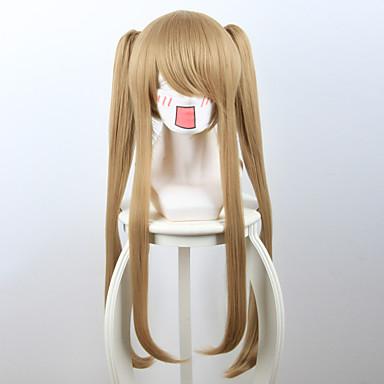 Syntetiske parykker Dame Rett Blond Syntetisk hår Blond Parykk Kort / Medium Lengde / Lang Lokkløs Jordebær Blond