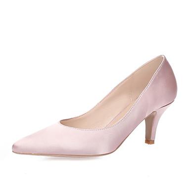 Mulheres Sapatos Seda Primavera / Verão Saltos Salto Agulha Dedo Apontado Vermelho / Rosa Claro / Azul Real / Casamento / Festas & Noite